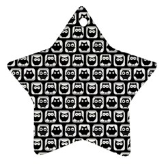 Black And White Owl Pattern Star Ornament (Two Sides)