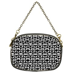 Black And White Owl Pattern Chain Purses (One Side)