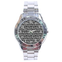 Black And White Owl Pattern Stainless Steel Men s Watch
