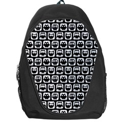 Black And White Owl Pattern Backpack Bag