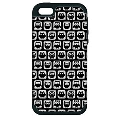 Black And White Owl Pattern Apple iPhone 5 Hardshell Case (PC+Silicone)