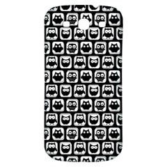 Black And White Owl Pattern Samsung Galaxy S3 S III Classic Hardshell Back Case