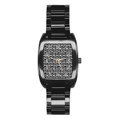 Black And White Owl Pattern Stainless Steel Barrel Watch