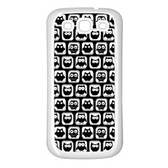 Black And White Owl Pattern Samsung Galaxy S3 Back Case (White)