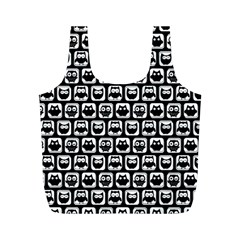 Black And White Owl Pattern Full Print Recycle Bags (M)