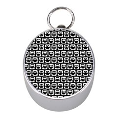 Black And White Owl Pattern Mini Silver Compasses