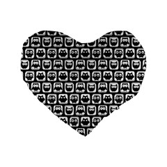Black And White Owl Pattern Standard 16  Premium Flano Heart Shape Cushions