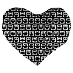 Black And White Owl Pattern Large 19  Premium Flano Heart Shape Cushions
