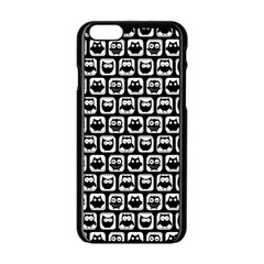 Black And White Owl Pattern Apple iPhone 6 Black Enamel Case