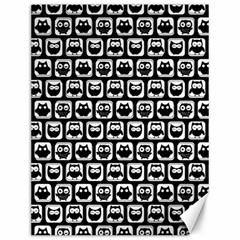 Black And White Owl Pattern Canvas 12  x 16