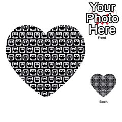 Black And White Owl Pattern Multi-purpose Cards (Heart)