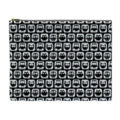 Black And White Owl Pattern Cosmetic Bag (XL)