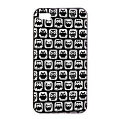 Black And White Owl Pattern Apple Iphone 4/4s Seamless Case (black)
