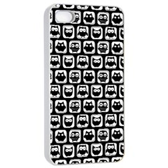 Black And White Owl Pattern Apple Iphone 4/4s Seamless Case (white)