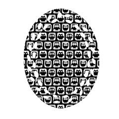 Black And White Owl Pattern Ornament (oval Filigree)