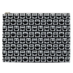 Black And White Owl Pattern Cosmetic Bag (XXL)