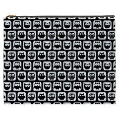 Black And White Owl Pattern Cosmetic Bag (XXXL)