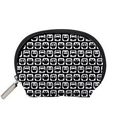 Black And White Owl Pattern Accessory Pouches (Small)
