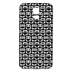 Black And White Owl Pattern Samsung Galaxy S5 Back Case (White)