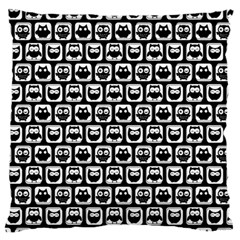 Black And White Owl Pattern Large Flano Cushion Cases (One Side)