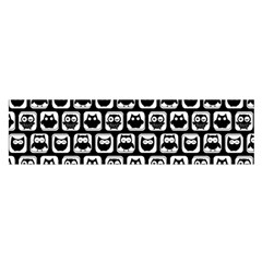 Black And White Owl Pattern Satin Scarf (Oblong)