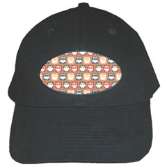 Colorful Whimsical Owl Pattern Black Cap