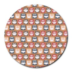 Colorful Whimsical Owl Pattern Round Mousepads