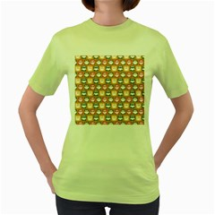 Colorful Whimsical Owl Pattern Women s Green T-Shirt