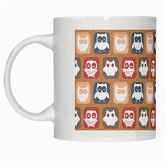 Colorful Whimsical Owl Pattern White Mugs