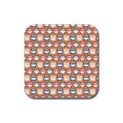 Colorful Whimsical Owl Pattern Rubber Coaster (Square)