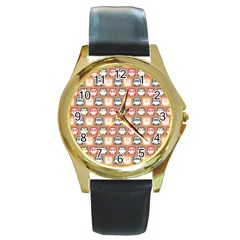 Colorful Whimsical Owl Pattern Round Gold Metal Watches