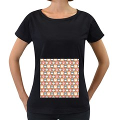 Colorful Whimsical Owl Pattern Women s Loose Fit T Shirt (black)