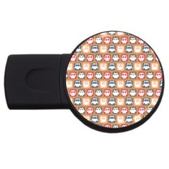 Colorful Whimsical Owl Pattern USB Flash Drive Round (4 GB)