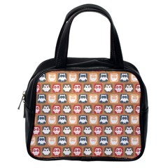 Colorful Whimsical Owl Pattern Classic Handbags (One Side)