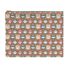 Colorful Whimsical Owl Pattern Cosmetic Bag (XL)