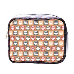 Colorful Whimsical Owl Pattern Mini Toiletries Bags