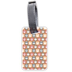 Colorful Whimsical Owl Pattern Luggage Tags (Two Sides)
