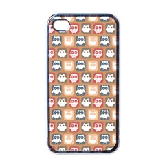 Colorful Whimsical Owl Pattern Apple iPhone 4 Case (Black)