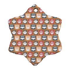 Colorful Whimsical Owl Pattern Snowflake Ornament (2-Side)