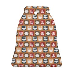 Colorful Whimsical Owl Pattern Bell Ornament (2 Sides)
