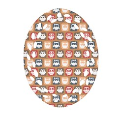 Colorful Whimsical Owl Pattern Ornament (Oval Filigree)