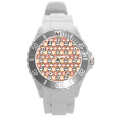 Colorful Whimsical Owl Pattern Round Plastic Sport Watch (L)