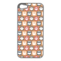 Colorful Whimsical Owl Pattern Apple iPhone 5 Case (Silver)