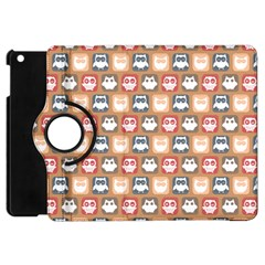 Colorful Whimsical Owl Pattern Apple iPad Mini Flip 360 Case