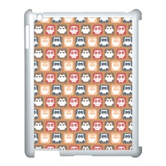 Colorful Whimsical Owl Pattern Apple iPad 3/4 Case (White)