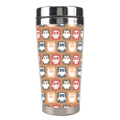 Colorful Whimsical Owl Pattern Stainless Steel Travel Tumblers