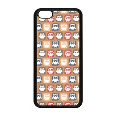 Colorful Whimsical Owl Pattern Apple iPhone 5C Seamless Case (Black)