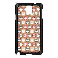 Colorful Whimsical Owl Pattern Samsung Galaxy Note 3 N9005 Case (Black)