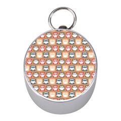 Colorful Whimsical Owl Pattern Mini Silver Compasses
