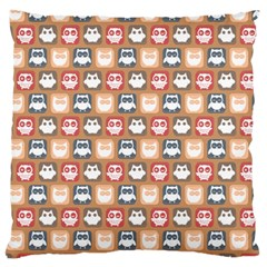 Colorful Whimsical Owl Pattern Large Flano Cushion Cases (One Side)